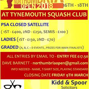 Northumbria Open - 16th-18th March - Tynemouth Squash Club